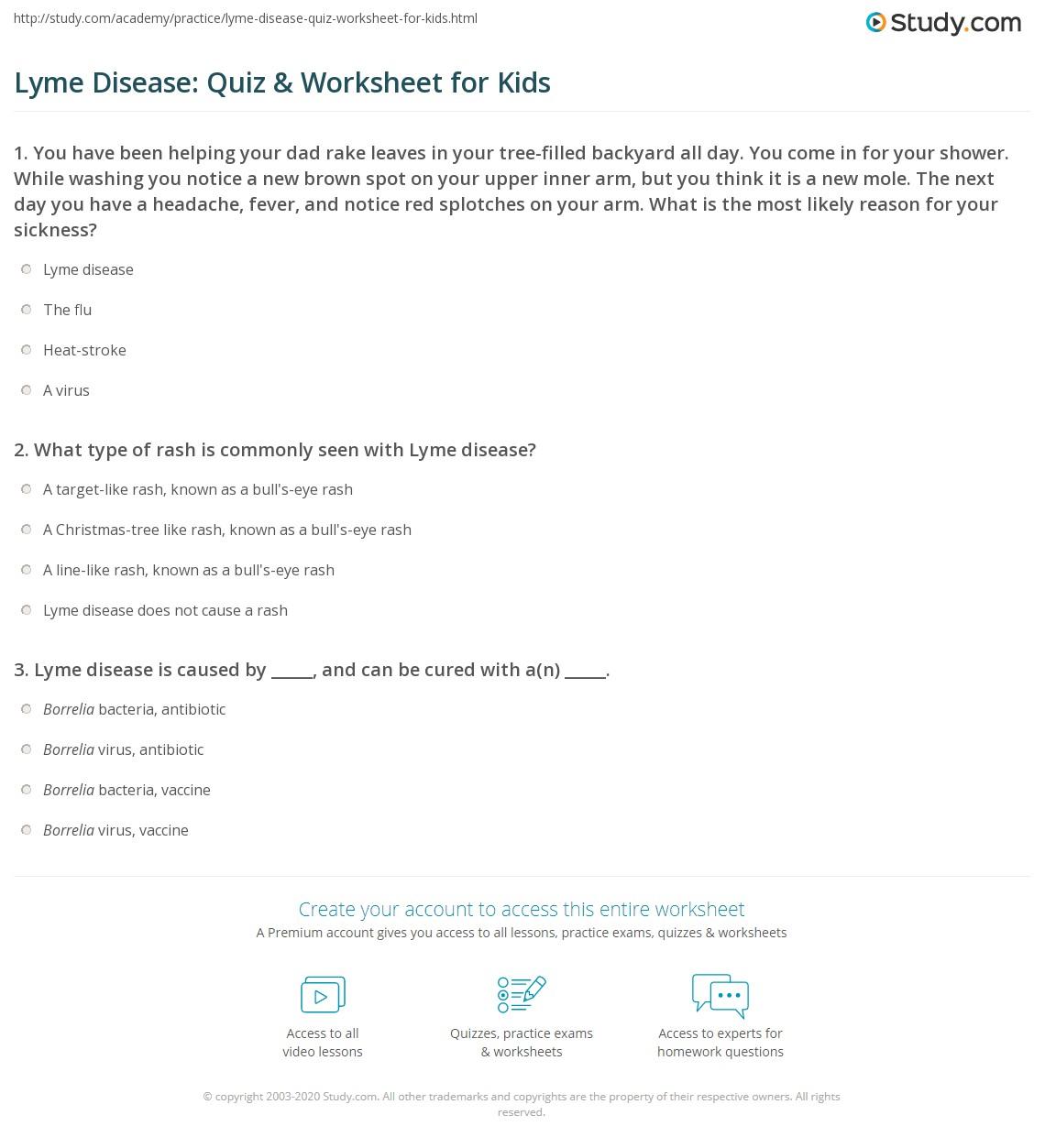 Lyme Disease Quiz Amp Worksheet For Kids