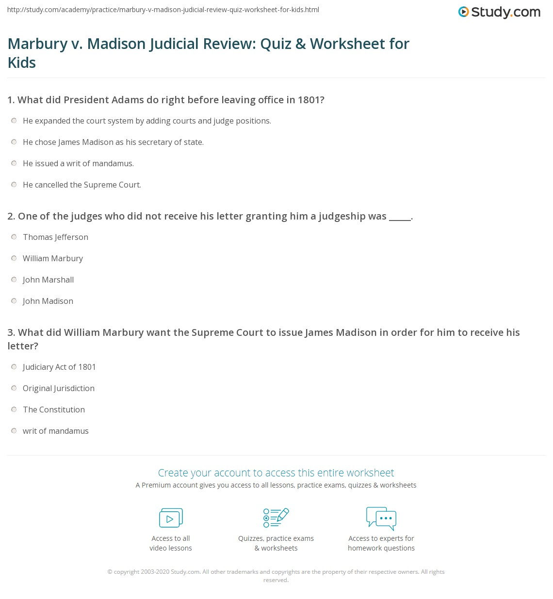 Marbury V Madison Judicial Review Quiz Amp Worksheet For Kids