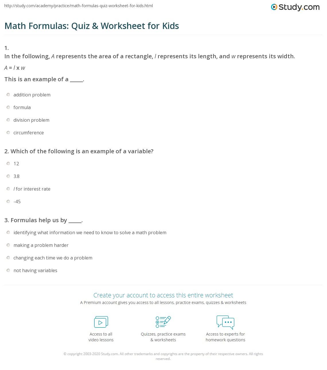 Math Formulas Quiz Amp Worksheet For Kids