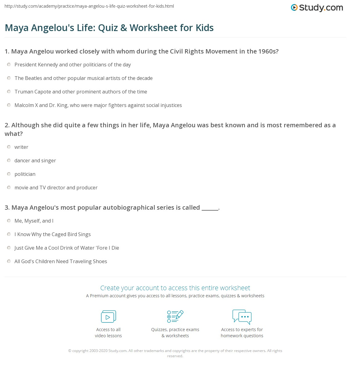 Maya Angelou S Life Quiz Amp Worksheet For Kids