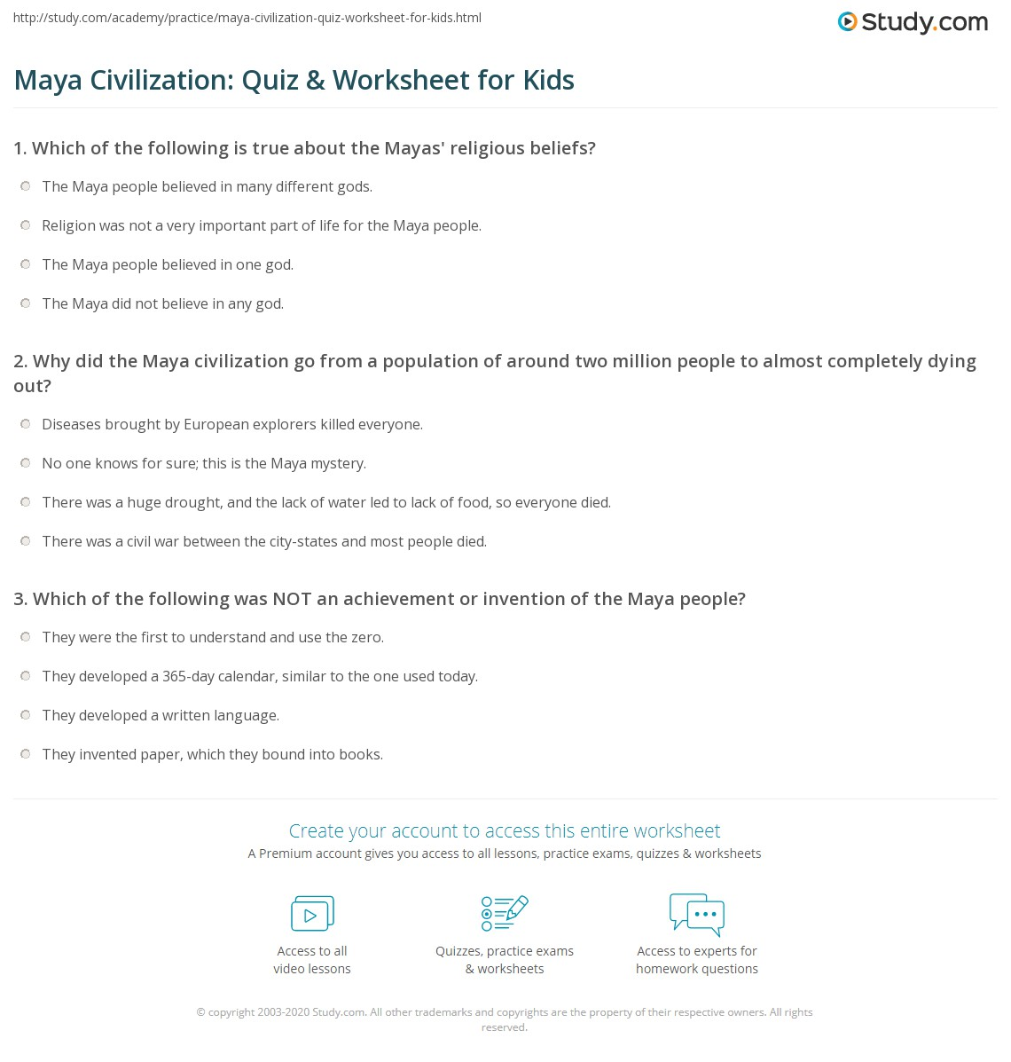Maya Civilization Quiz Amp Worksheet For Kids