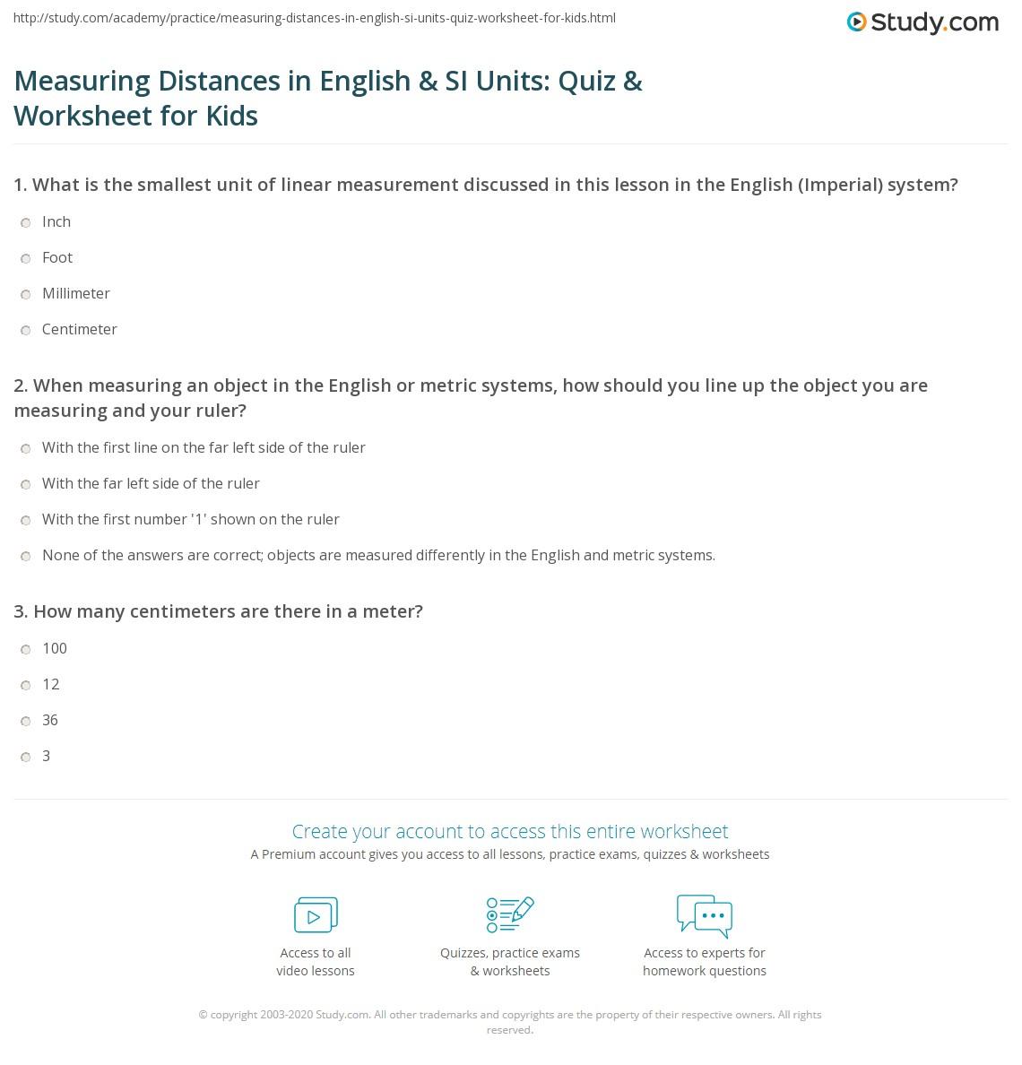 Measuring Distances In English Amp Si Units Quiz
