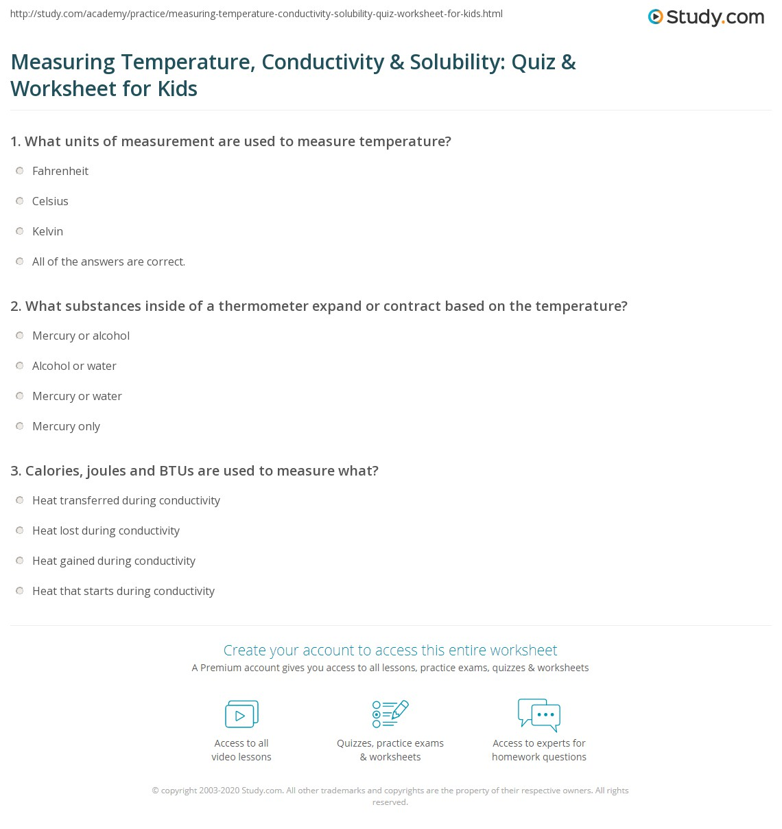 Measuring Temperature Conductivity Amp Solubility Quiz