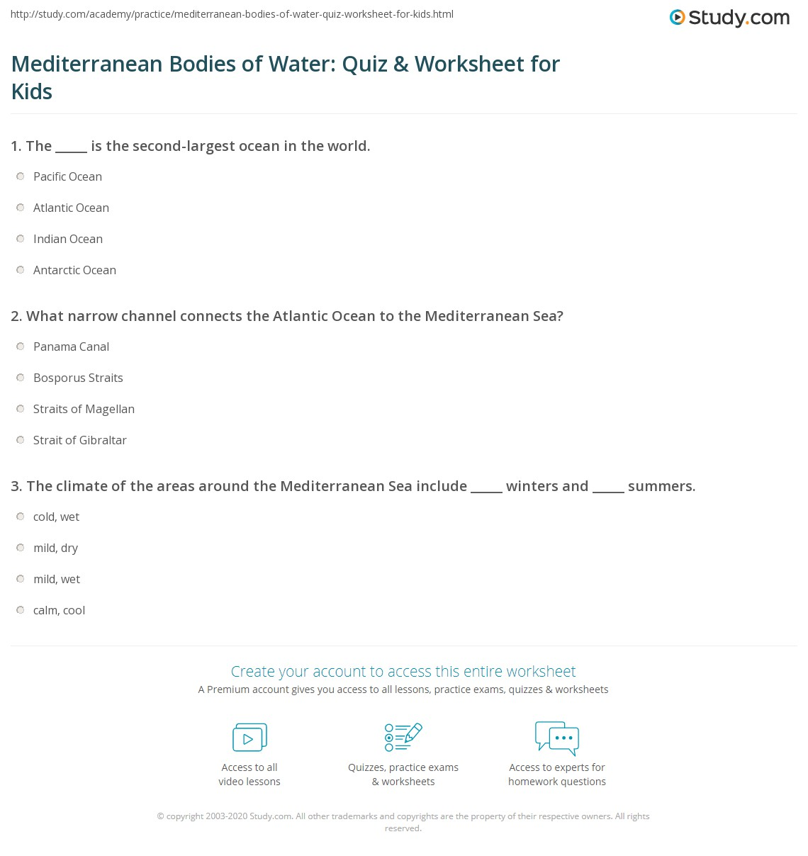 Mediterranean Bo S Of Water Quiz Amp Worksheet For Kids