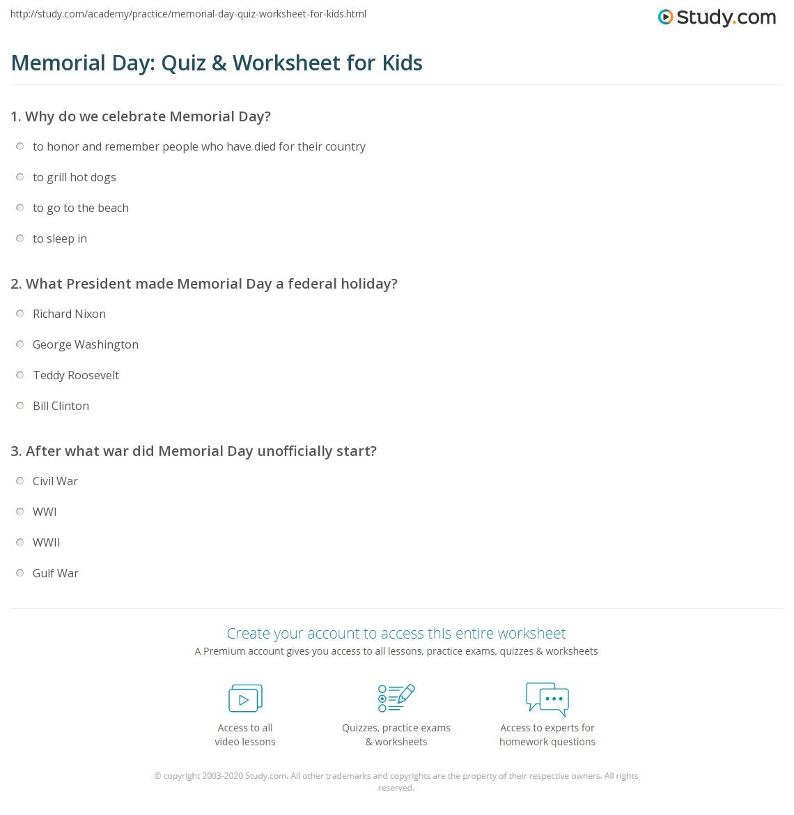 Memorial Day Quiz Amp Worksheet For Kids