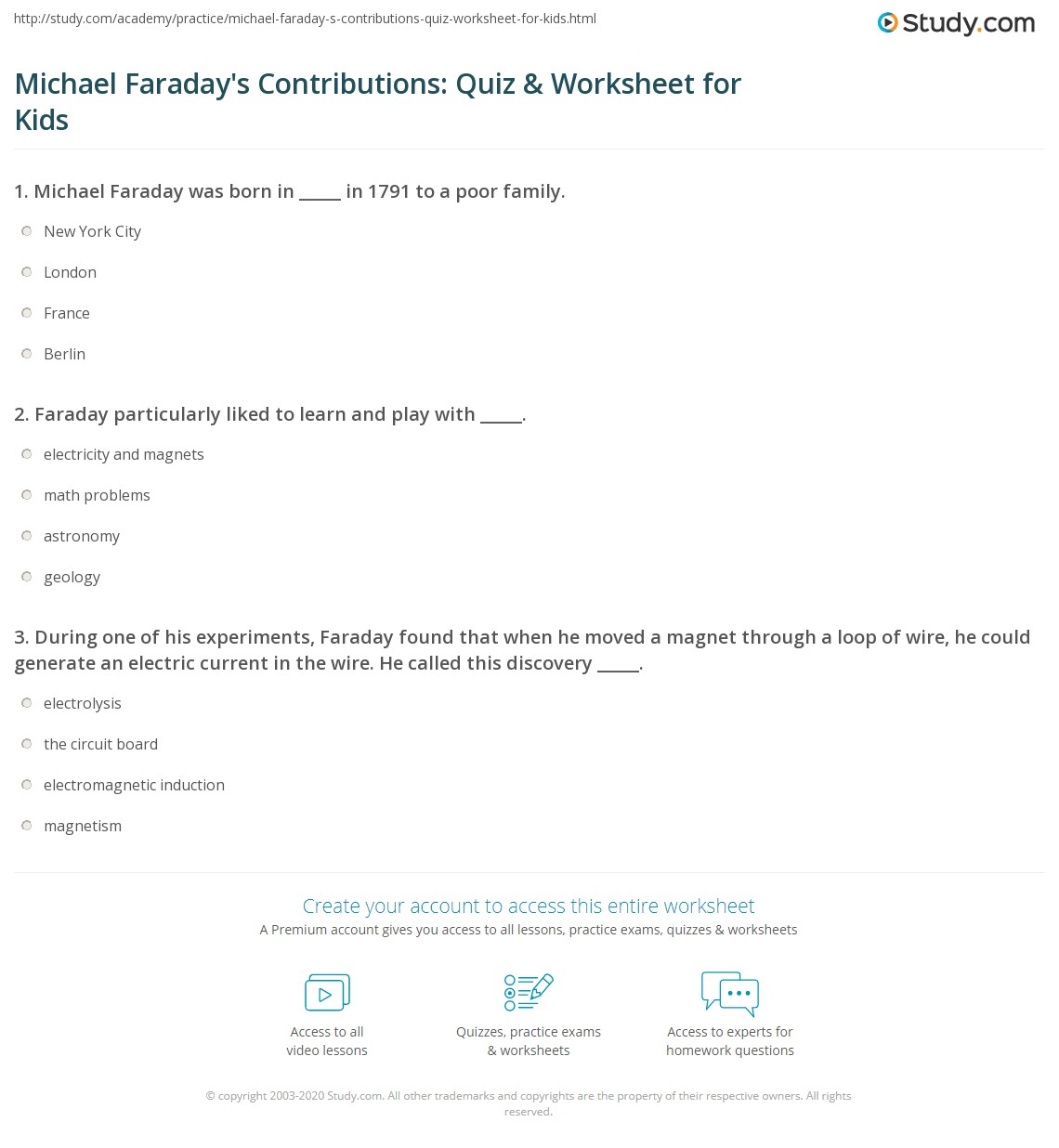 Michael Faraday S Contributions Quiz Amp Worksheet For Kids