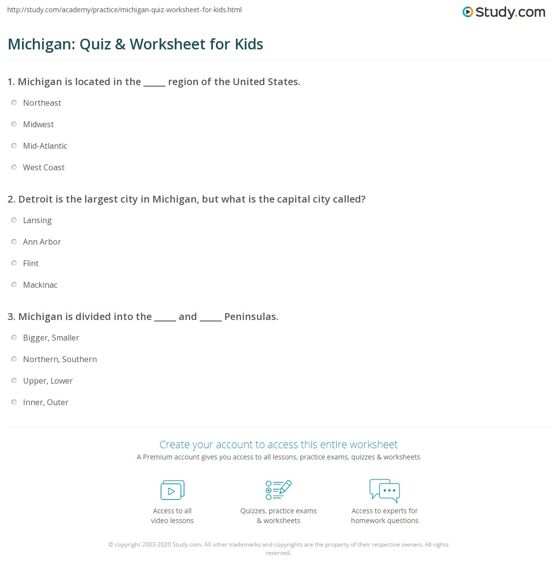 Michigan Quiz Amp Worksheet For Kids