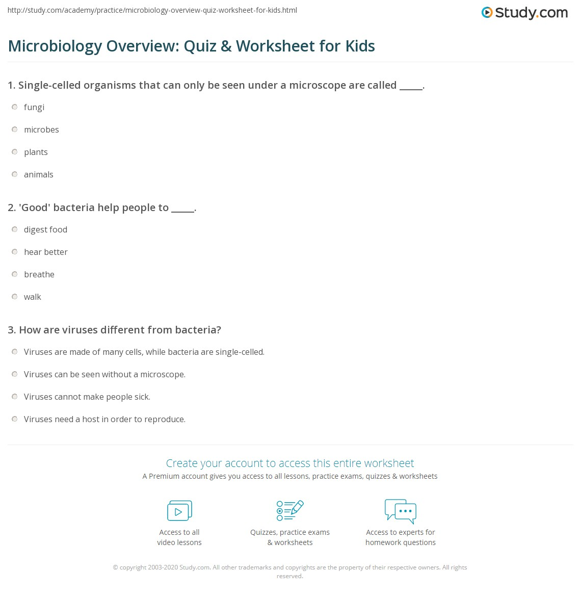 Microbiology Overview Quiz Amp Worksheet For Kids