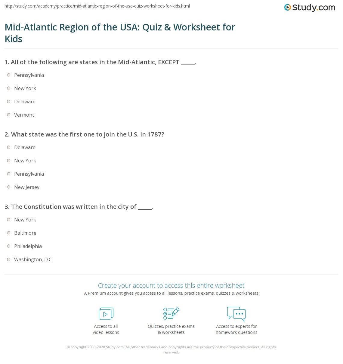 Mid Atlantic Region Of The Usa Quiz Amp Worksheet For Kids
