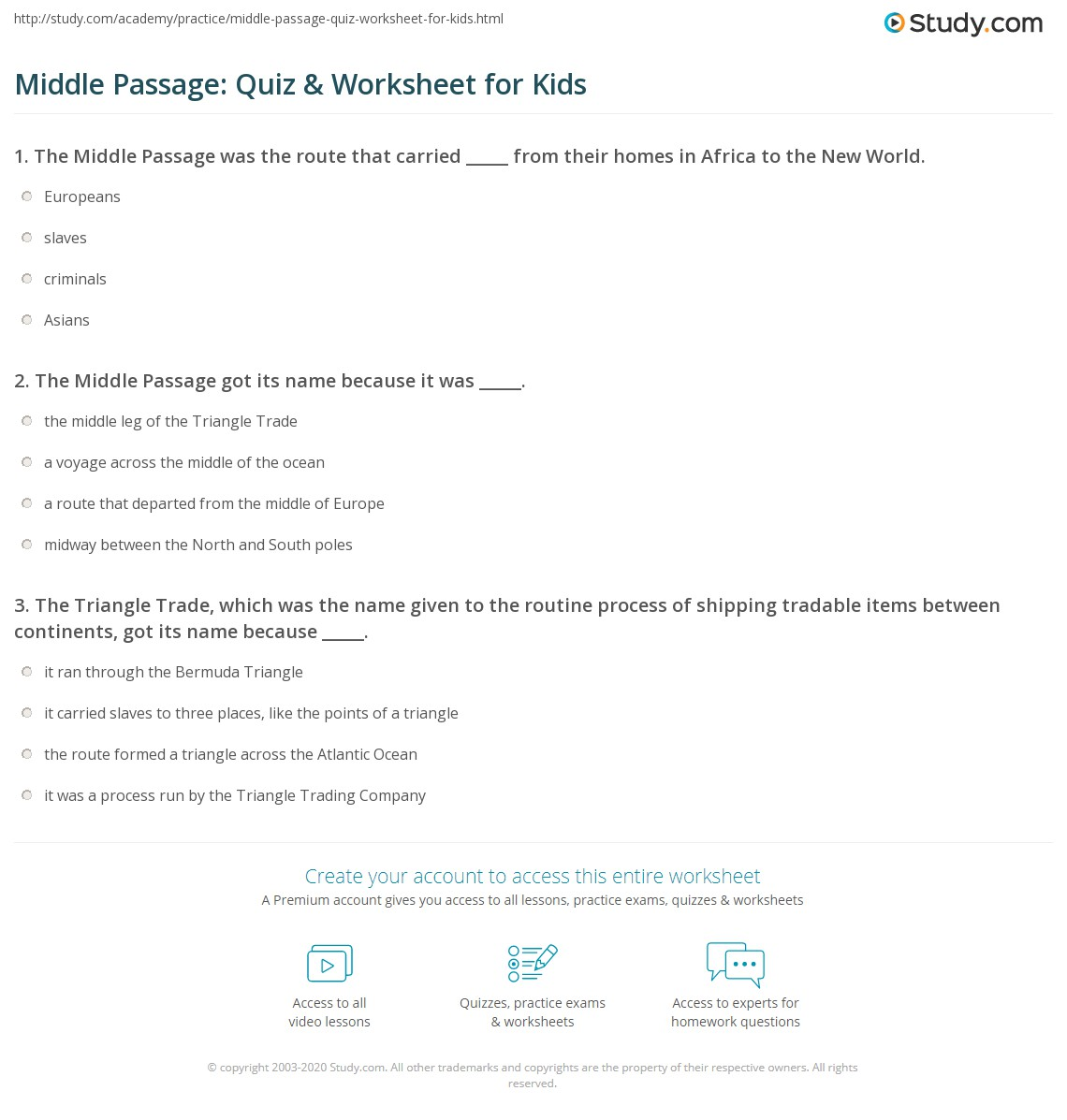 Middle Passage Quiz Amp Worksheet For Kids