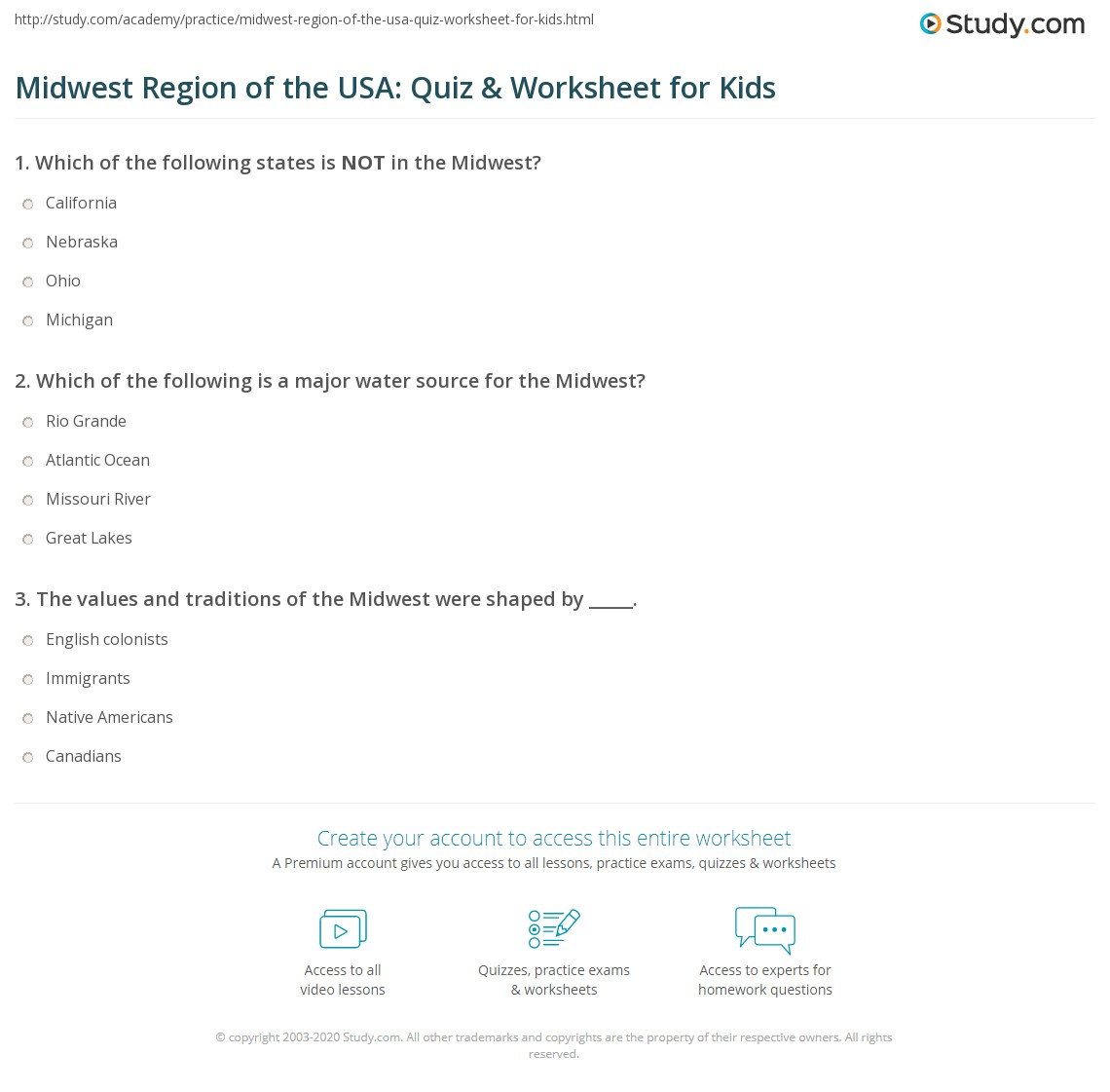 Midwest Region Of The Usa Quiz Amp Worksheet For Kids