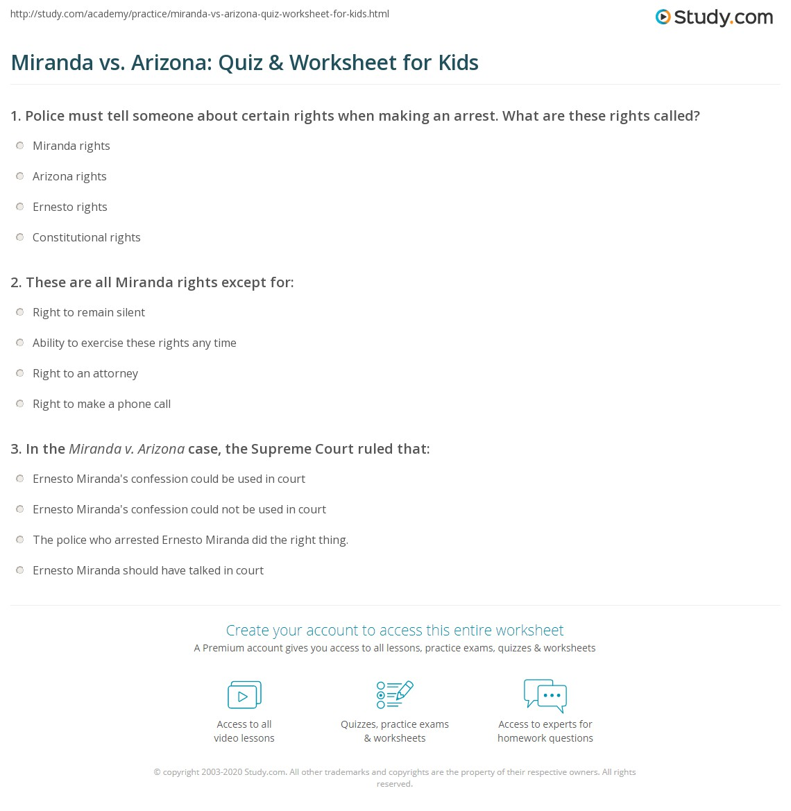 Miranda Vs Arizona Quiz Amp Worksheet For Kids