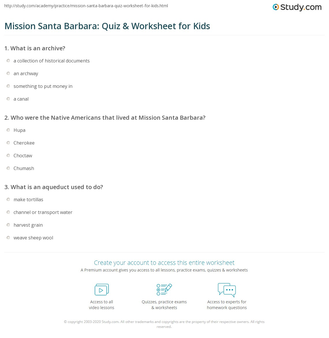 Mission Santa Barbara Quiz Amp Worksheet For Kids