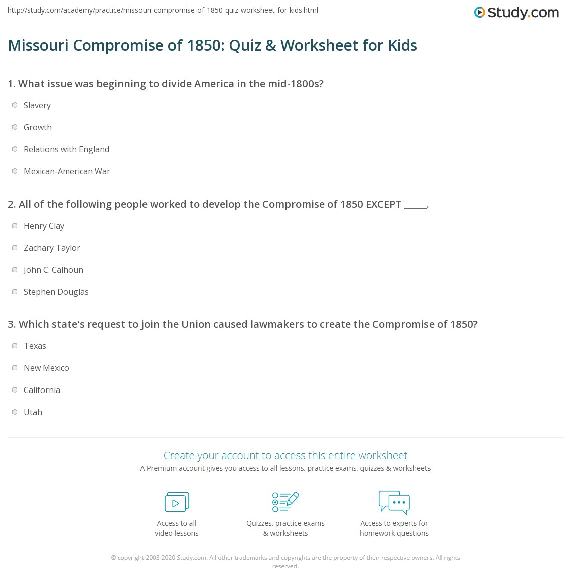 Missouri Compromise Of Quiz Amp Worksheet For Kids