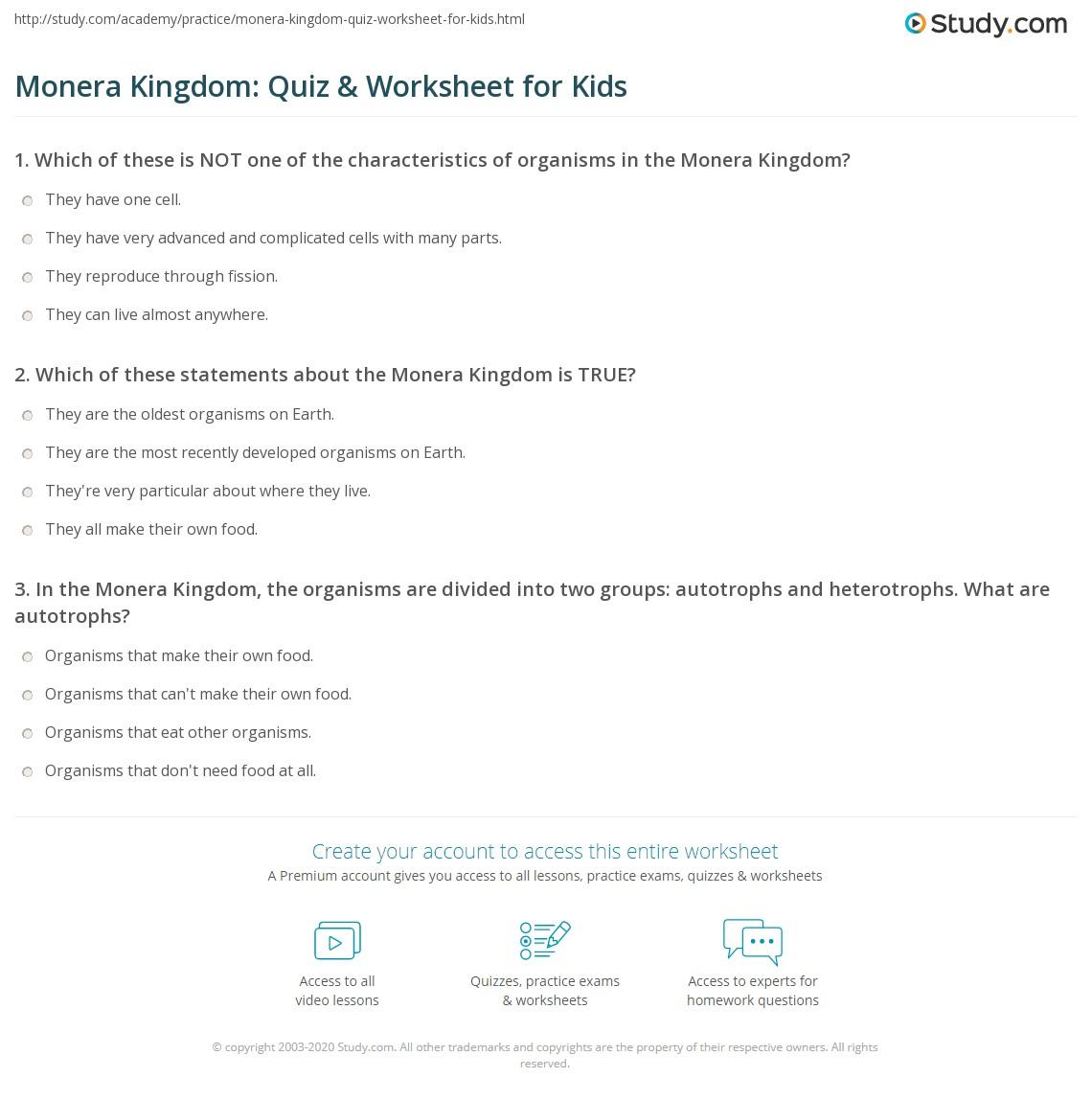 Monera Kingdom Quiz Amp Worksheet For Kids