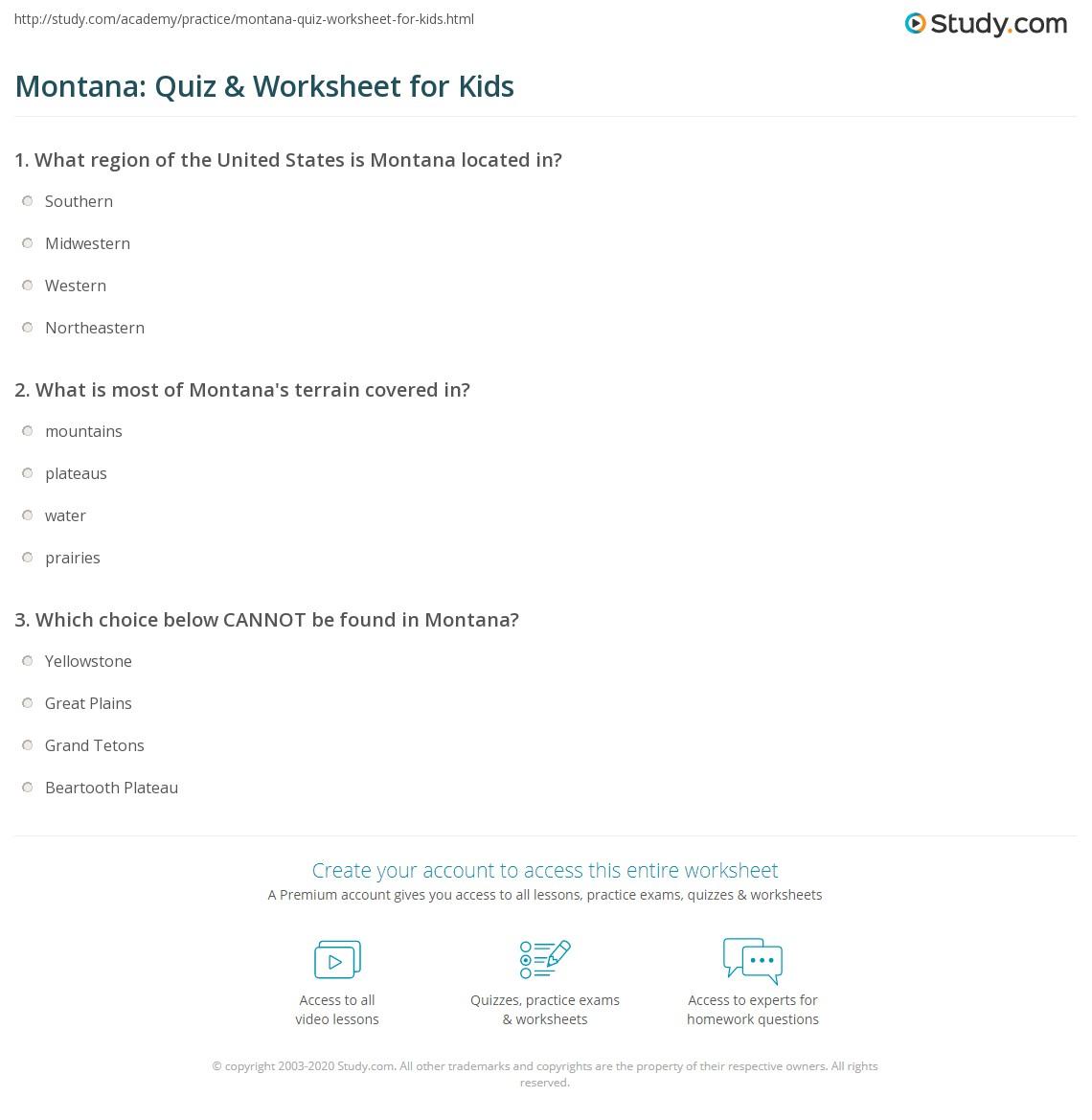 Montana Quiz Amp Worksheet For Kids