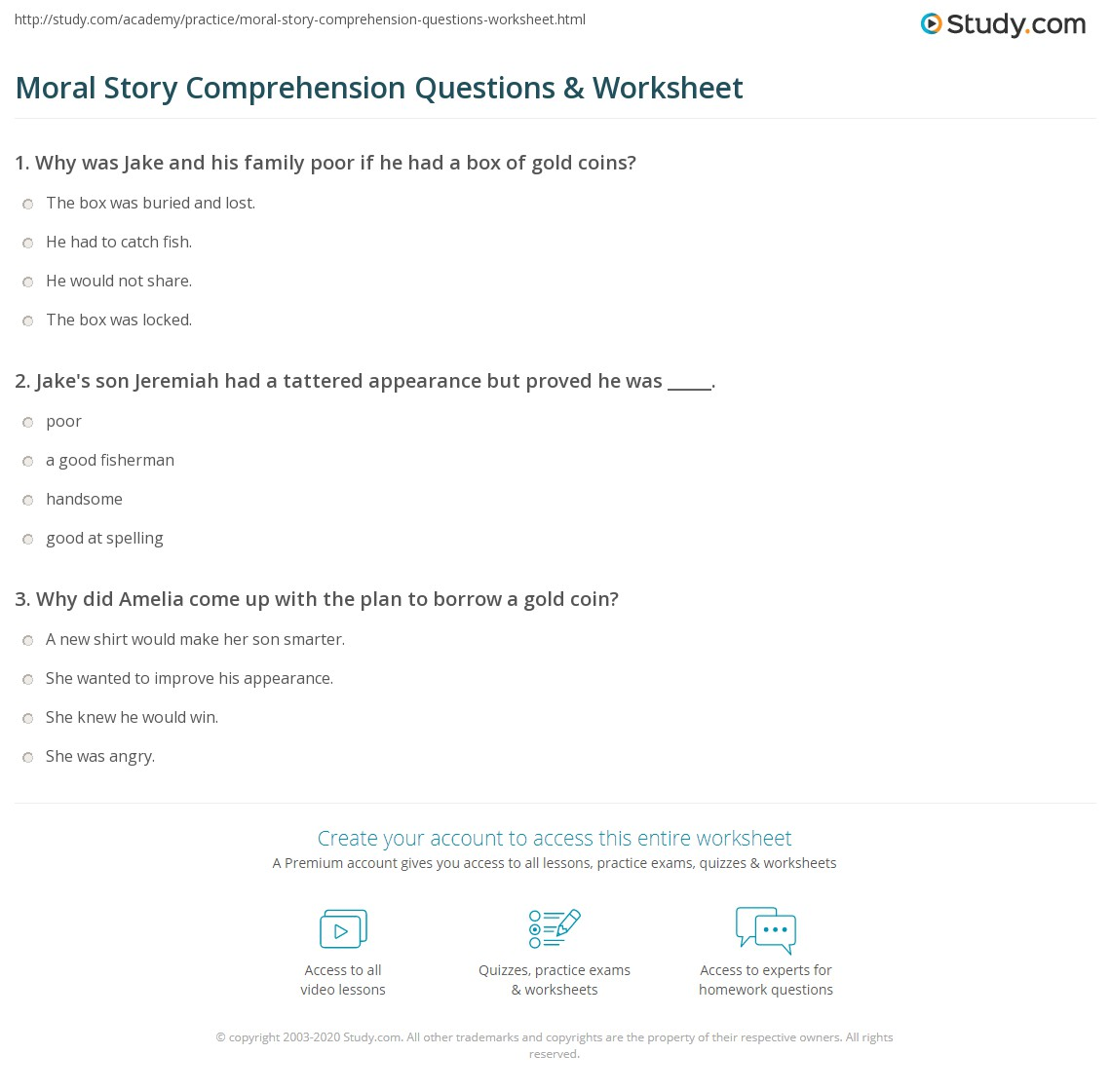 Moral Story Comprehension Questions Amp Worksheet