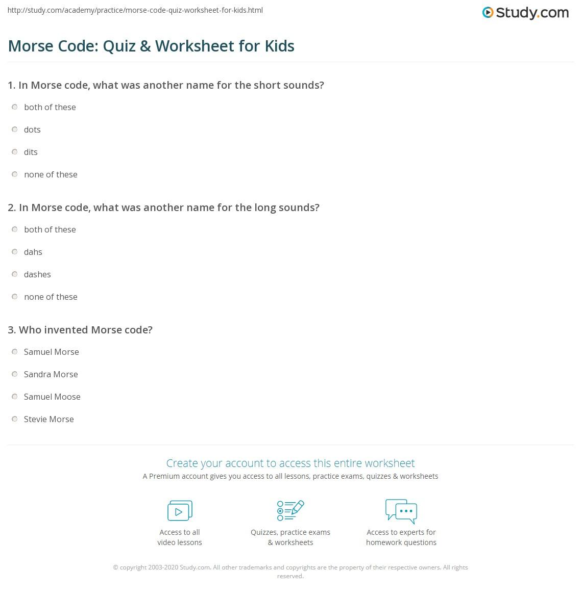 Morse Code Quiz Amp Worksheet For Kids