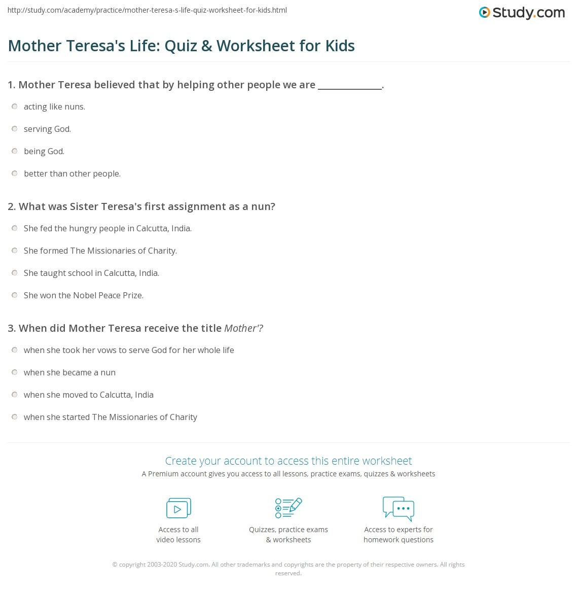 Mother Teresa S Life Quiz Amp Worksheet For Kids