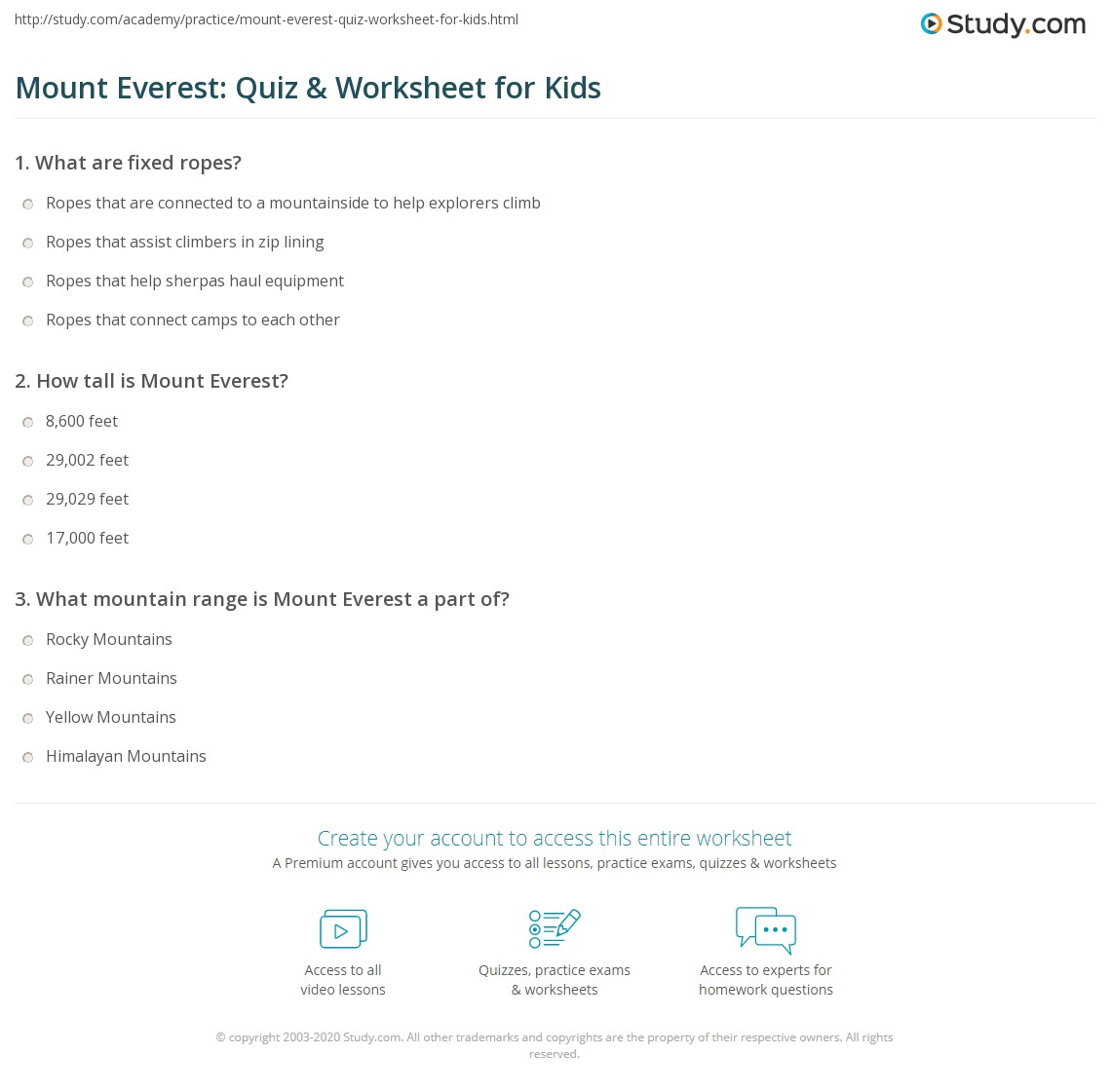 Mount Everest Quiz Amp Worksheet For Kids