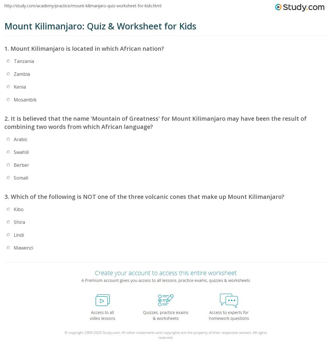 Mount Kilimanjaro Quiz Amp Worksheet For Kids