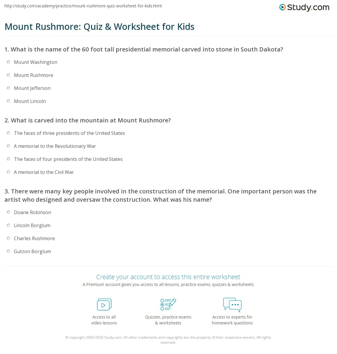 Mount Rushmore Quiz Amp Worksheet For Kids