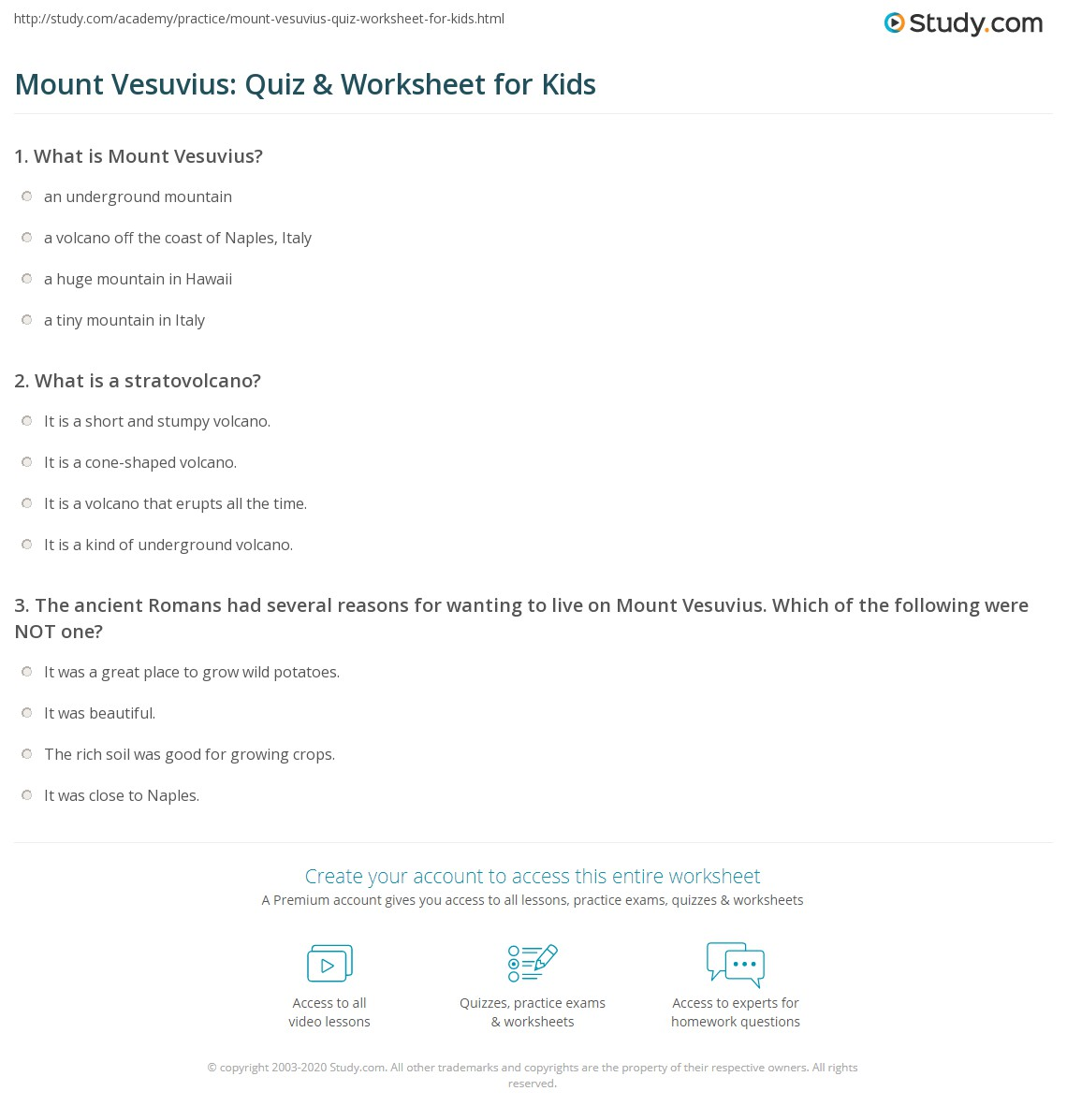 Mount Vesuvius Quiz Amp Worksheet For Kids