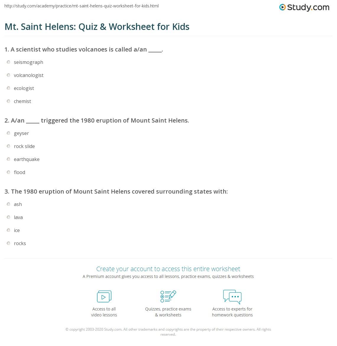 Mt Saint Helens Quiz Amp Worksheet For Kids