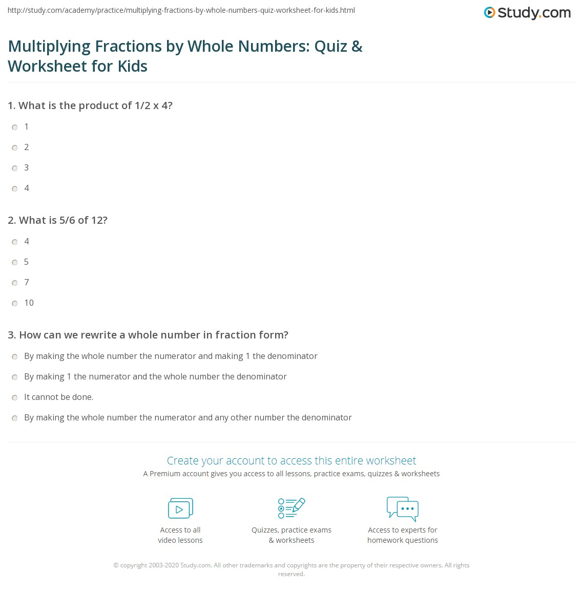 Multiplying Fractions By Whole Numbers Quiz Amp Worksheet