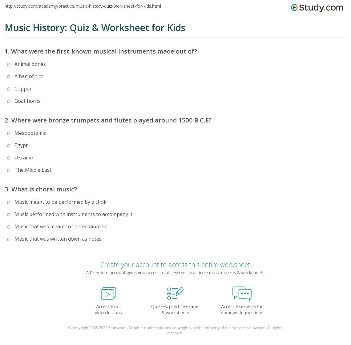 Music History Quiz Amp Worksheet For Kids