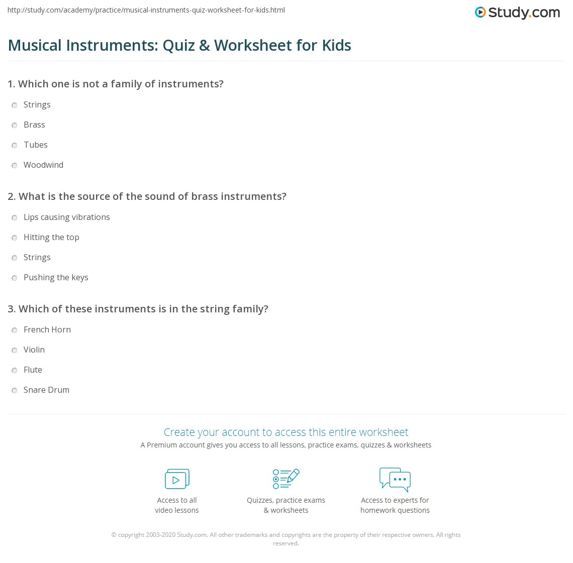 Musical Instruments Quiz Amp Worksheet For Kids