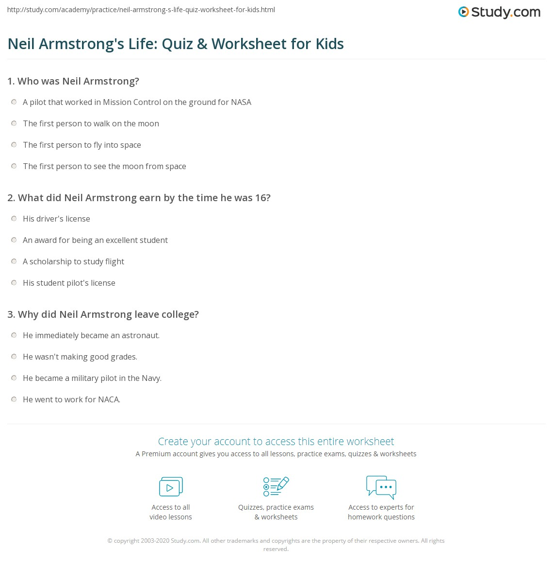Neil Armstrong S Life Quiz Amp Worksheet For Kids