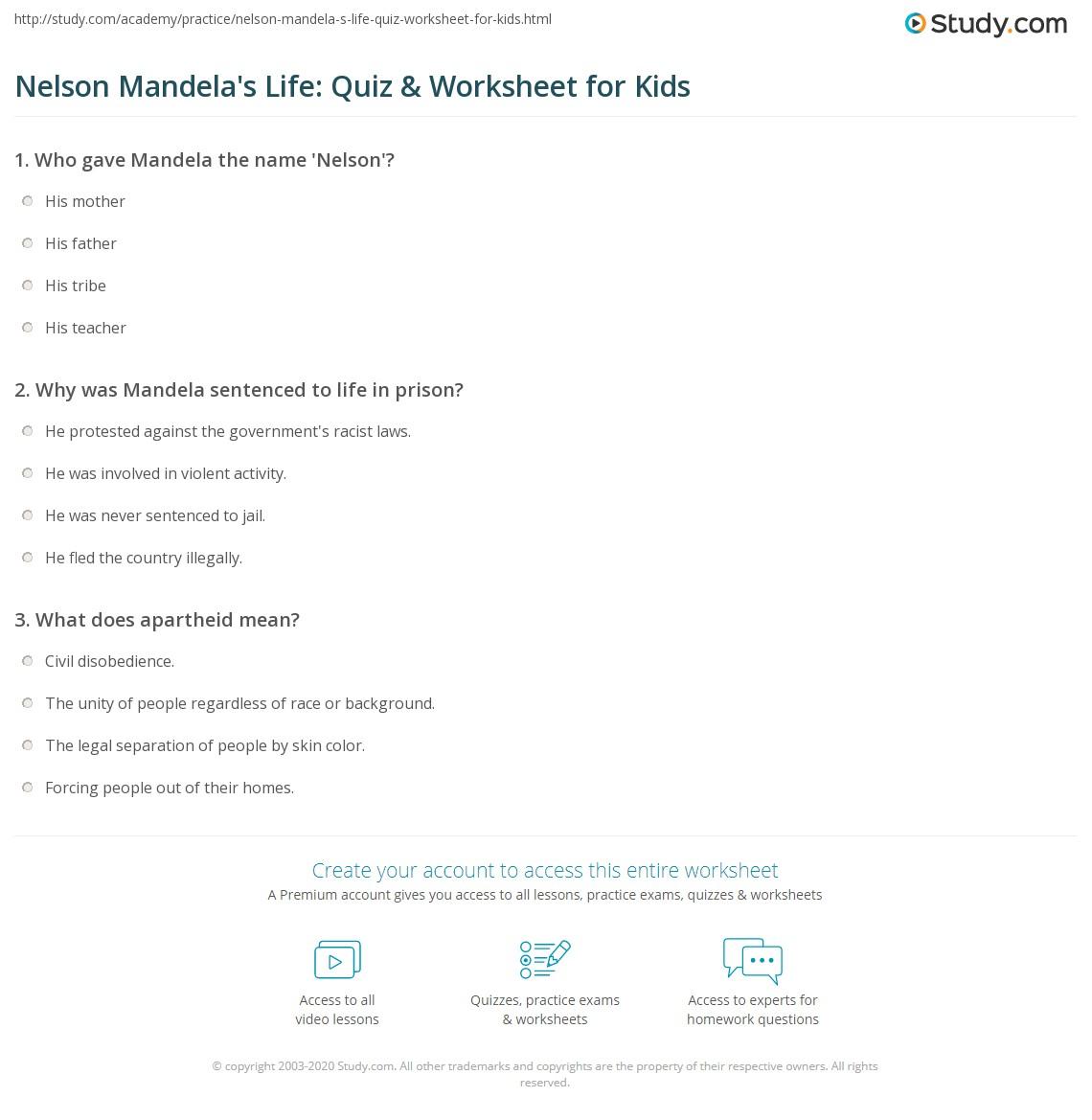Nelson Mandela S Life Quiz Amp Worksheet For Kids