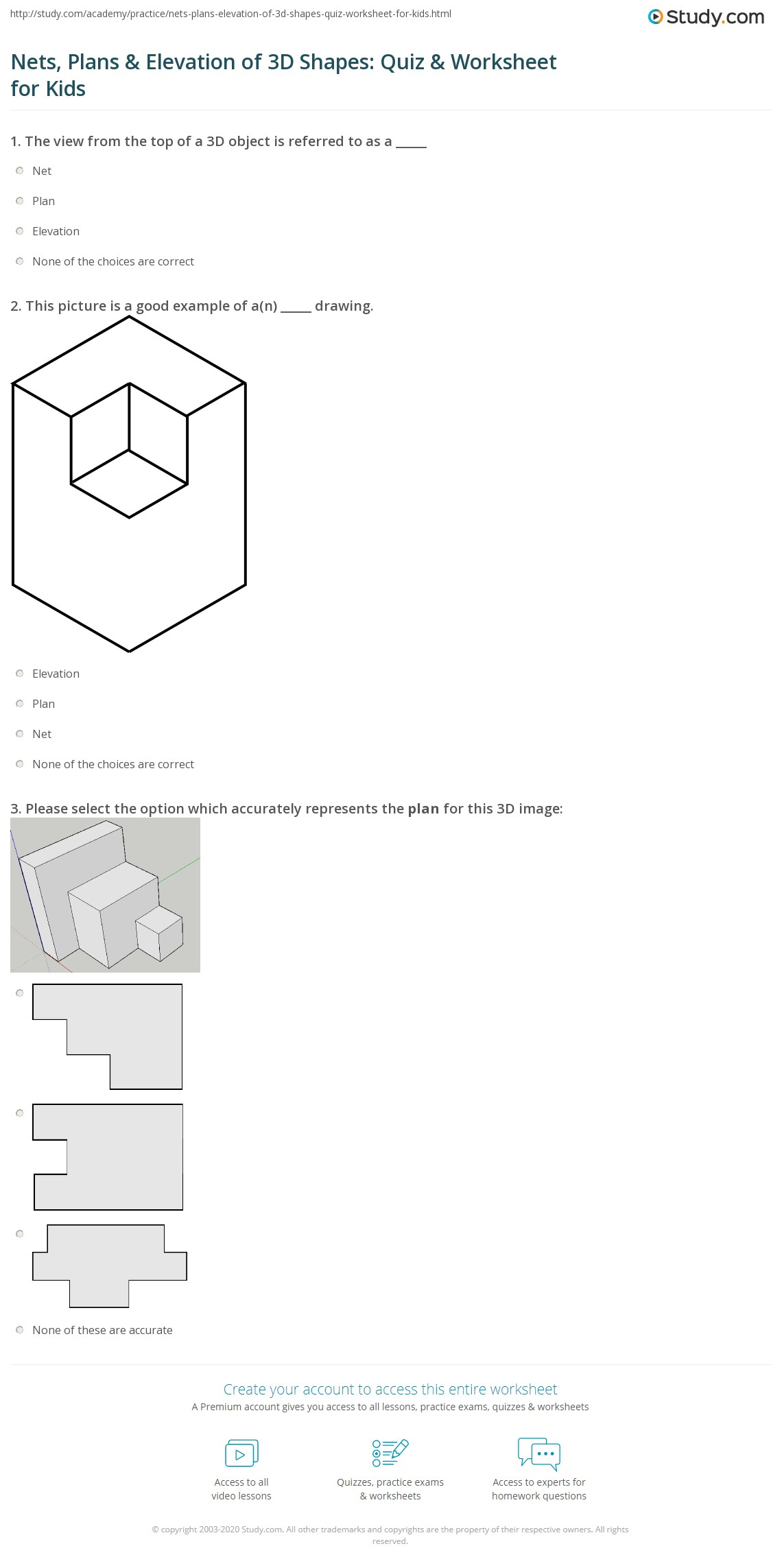 Nets Plans Amp Elevation Of 3d Shapes Quiz Amp Worksheet For