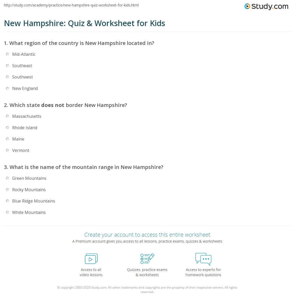 New Hampshire Quiz Amp Worksheet For Kids
