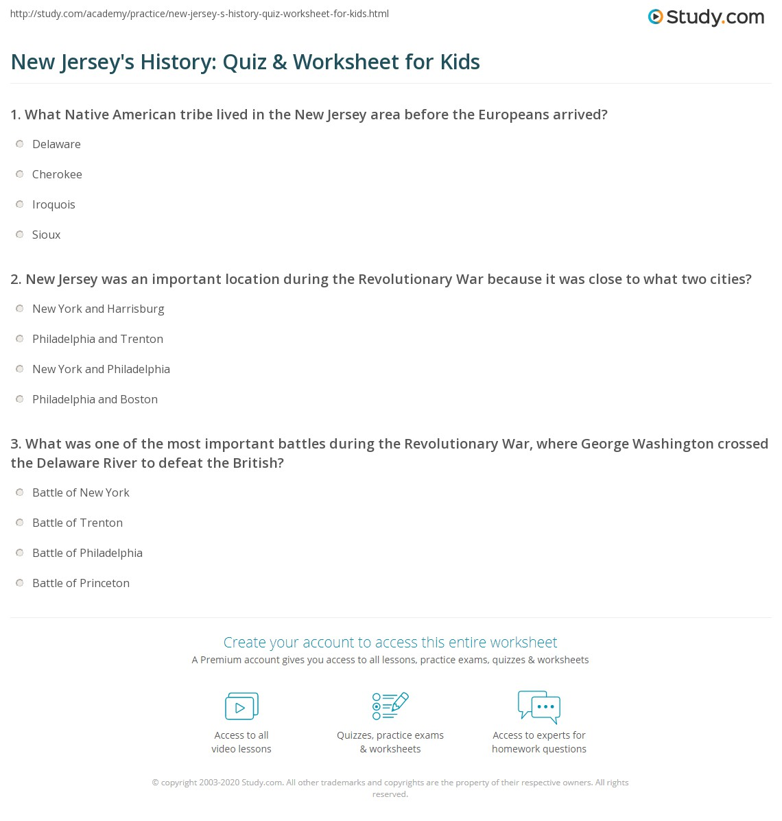 New Jersey S History Quiz Amp Worksheet For Kids