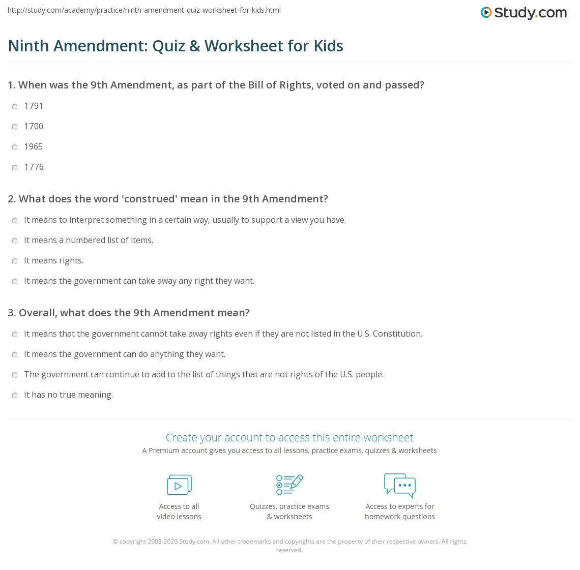 Ninth Amendment Quiz Amp Worksheet For Kids