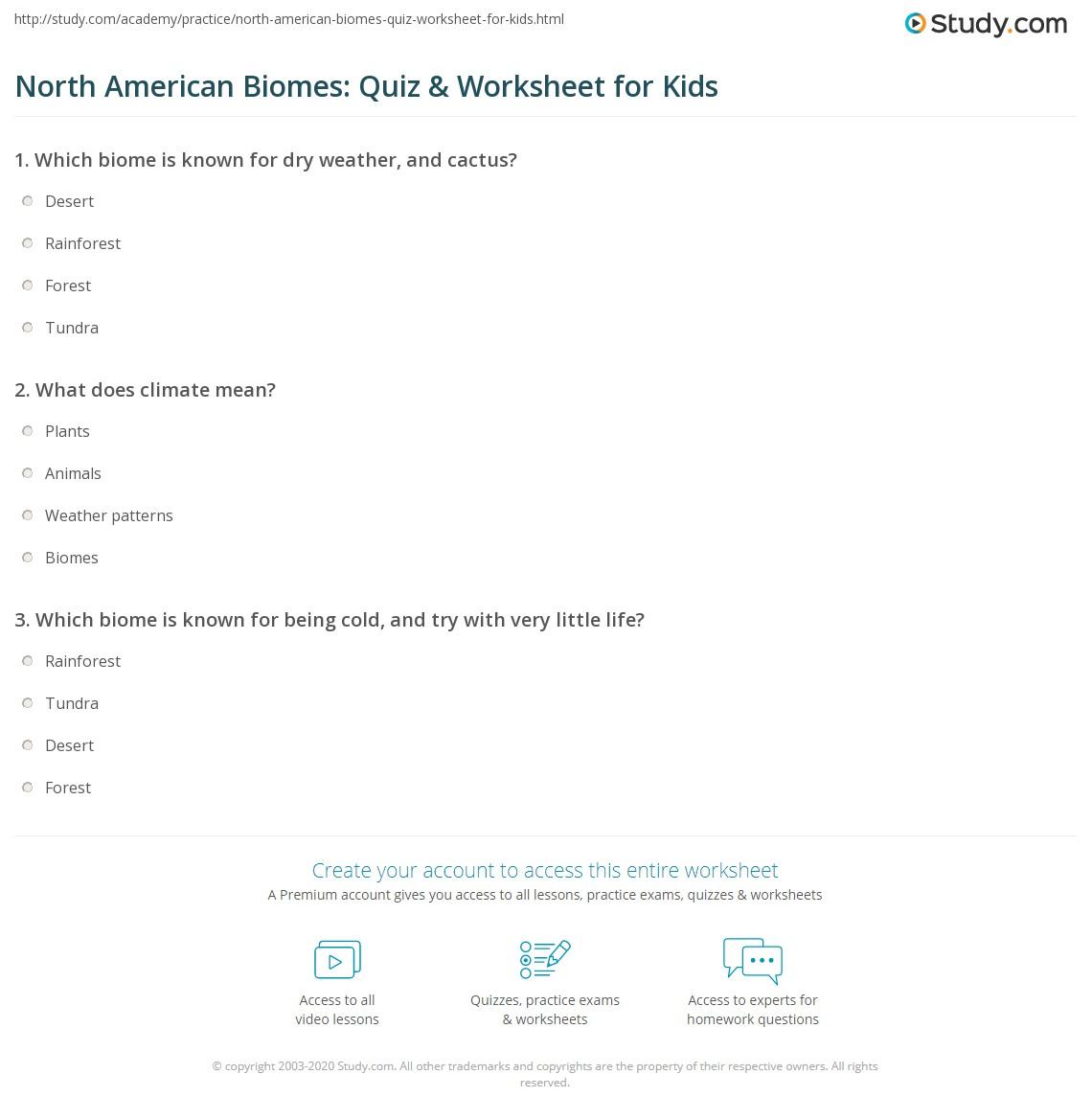 North American Biomes Quiz Amp Worksheet For Kids