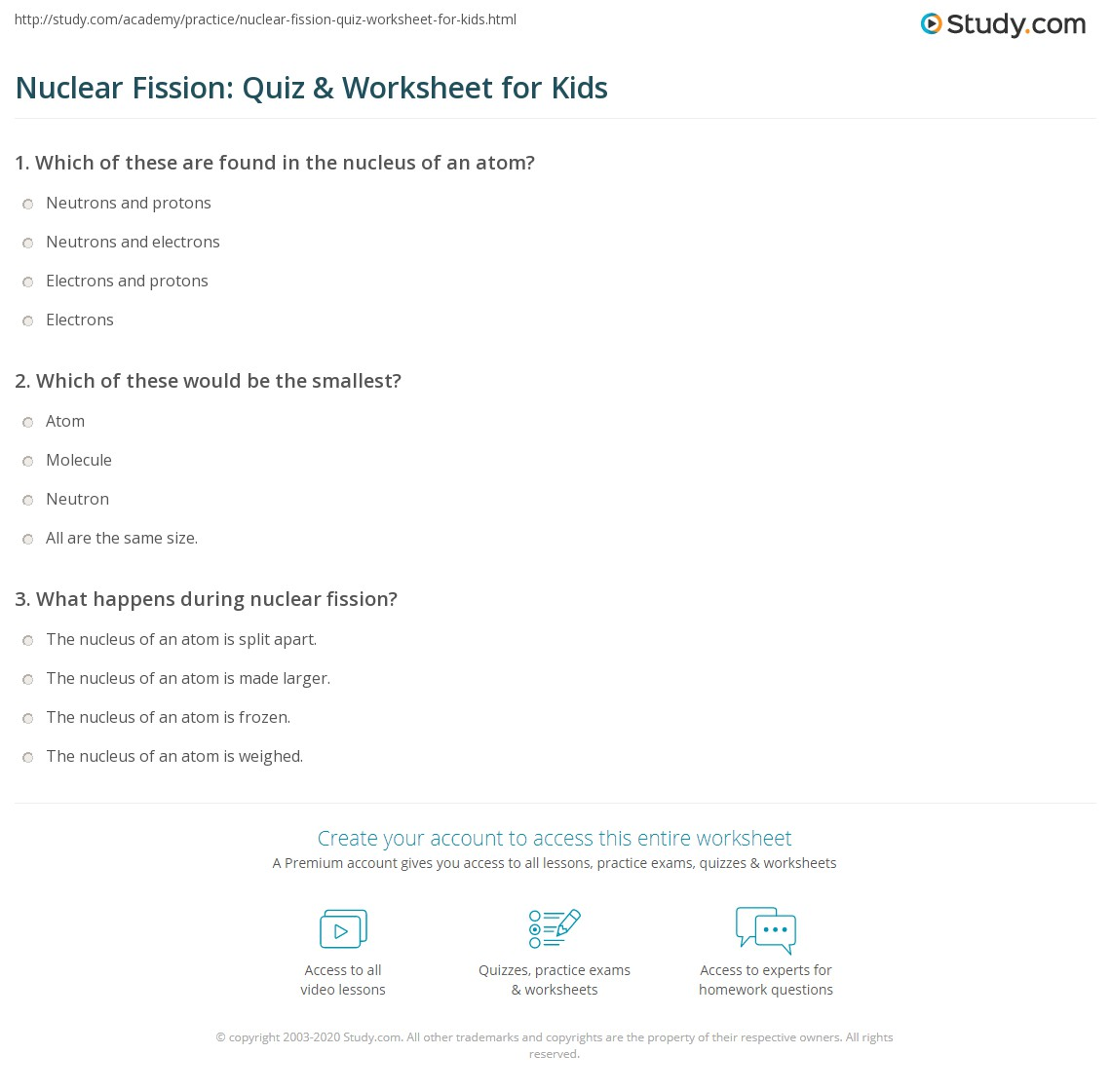 Nuclear Fission Quiz Amp Worksheet For Kids