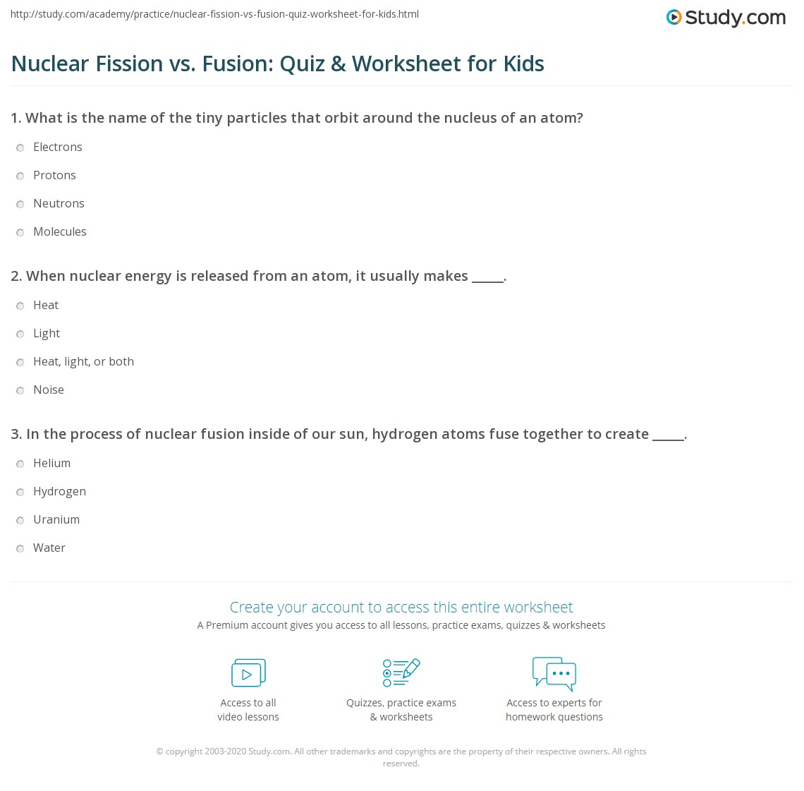 Nuclear Fission Vs Fusion Quiz Amp Worksheet For Kids