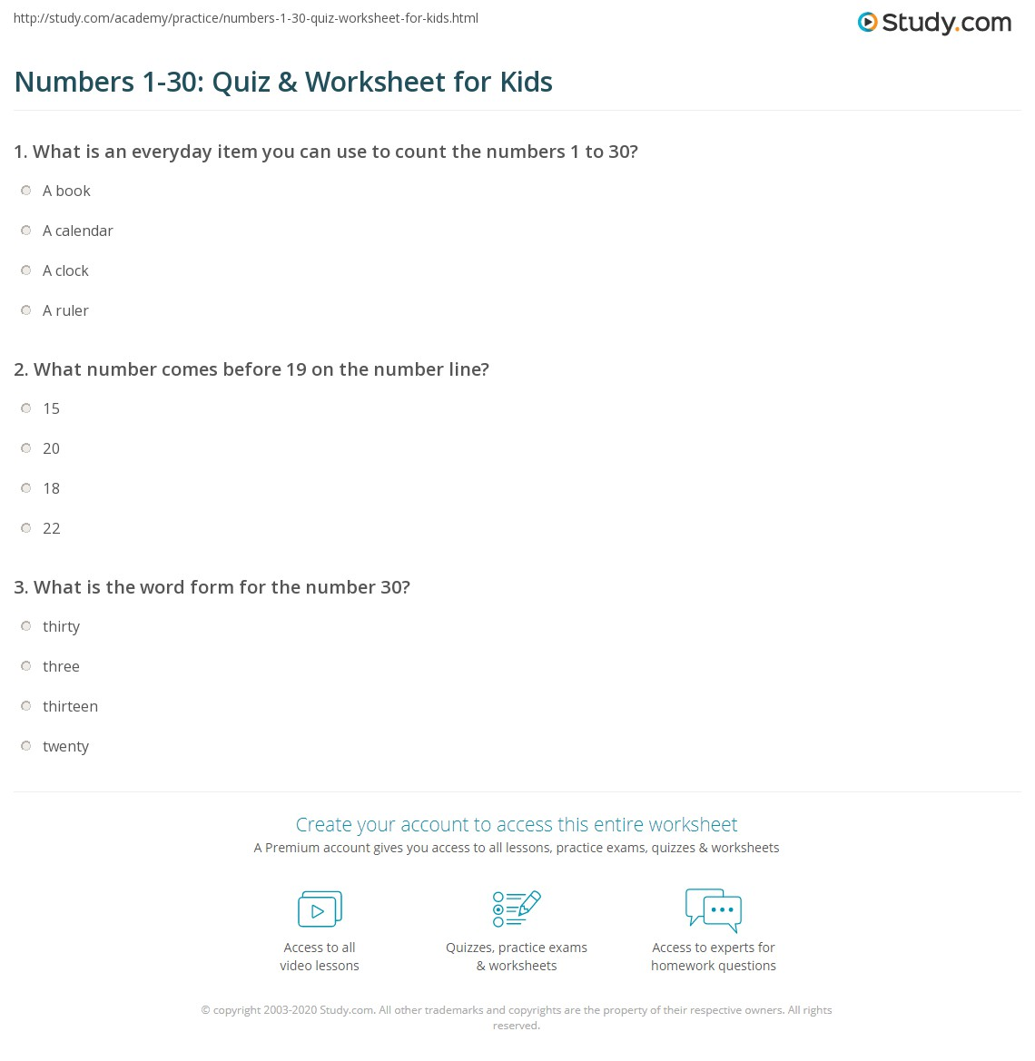 Numbers 1 30 Quiz Amp Worksheet For Kids