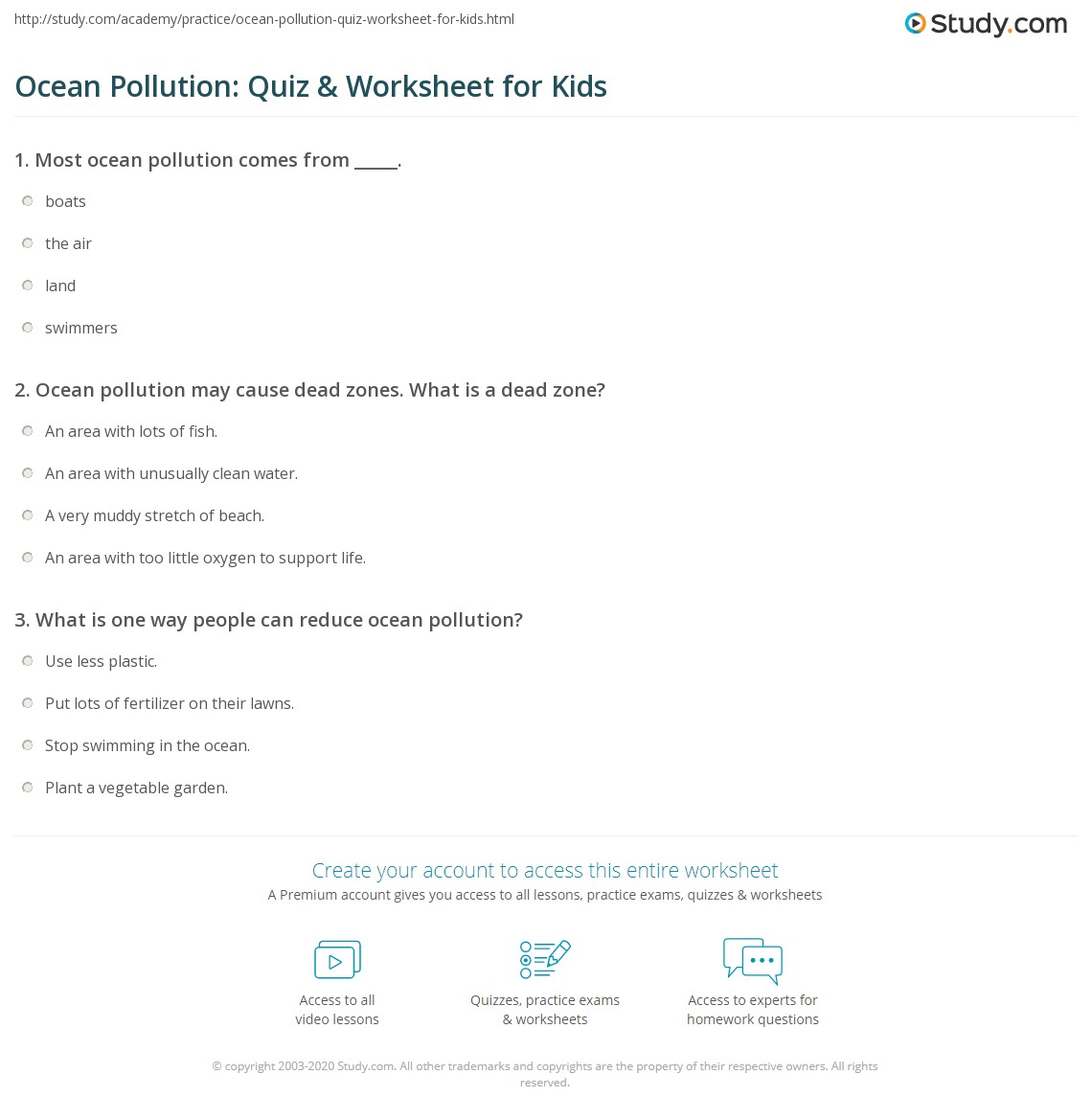 Ocean Pollution Quiz Amp Worksheet For Kids