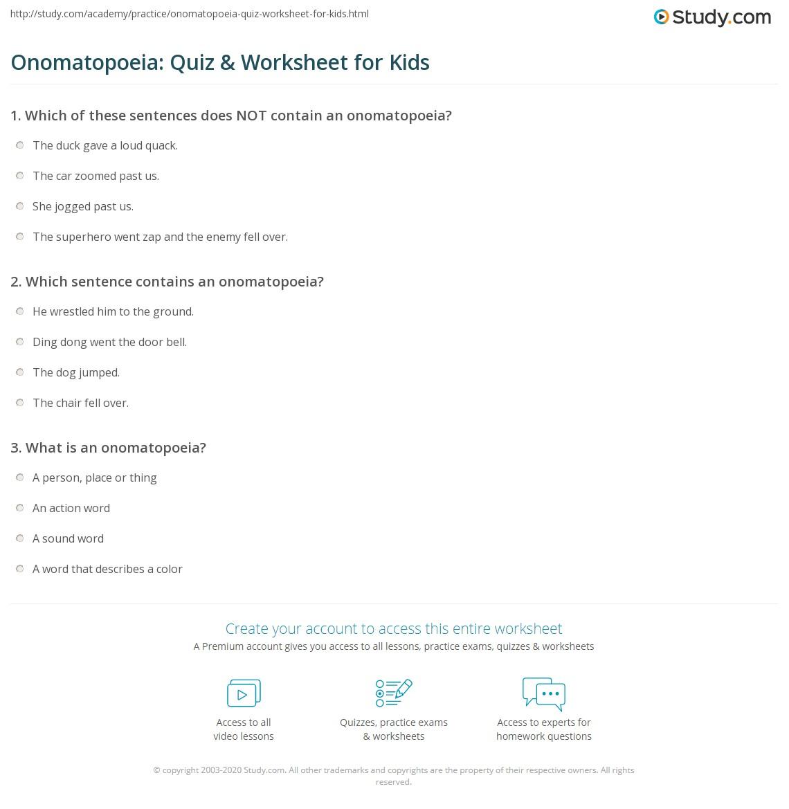 Onomatopoeia Quiz Amp Worksheet For Kids