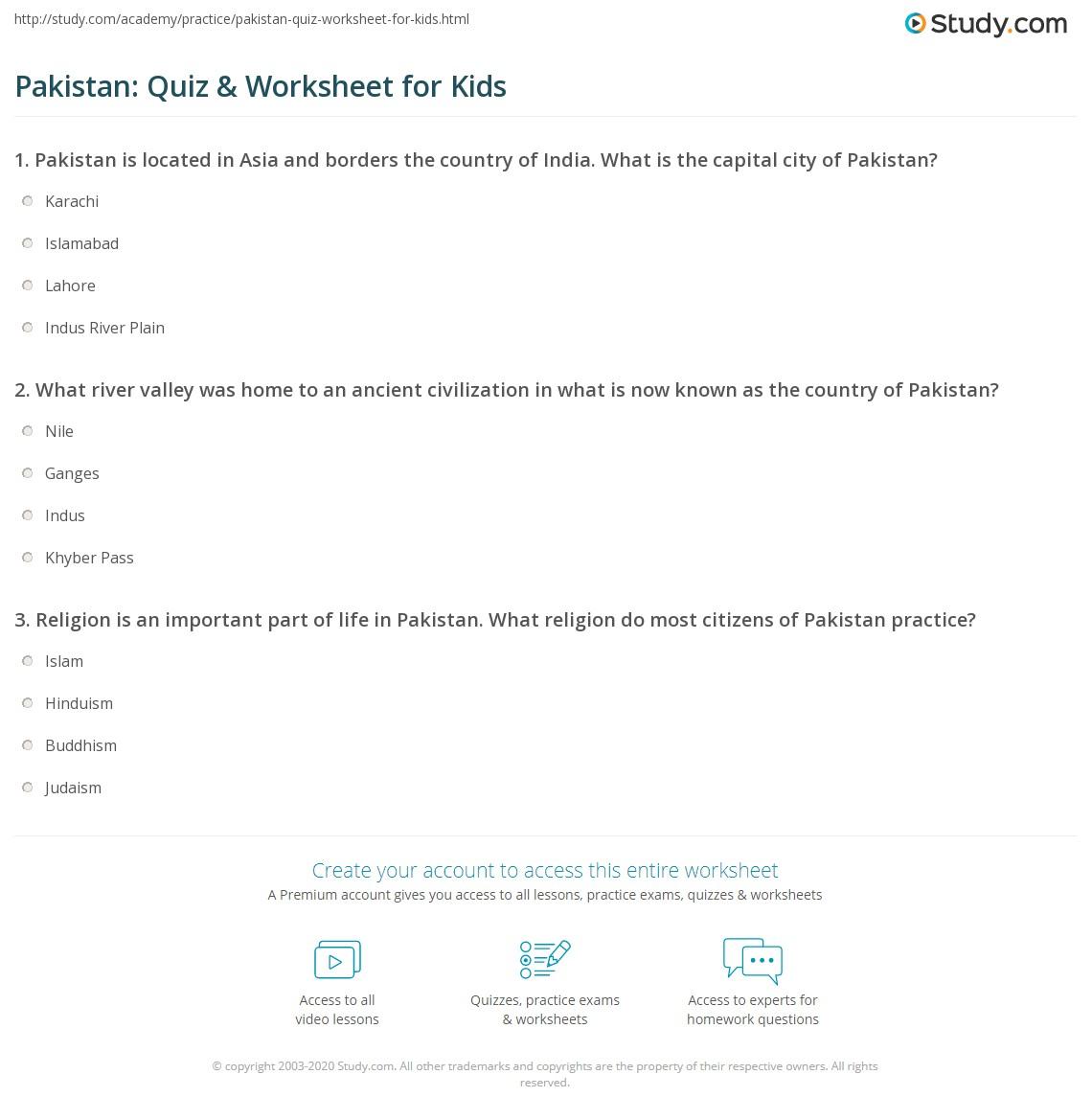 Pakistan Quiz Amp Worksheet For Kids