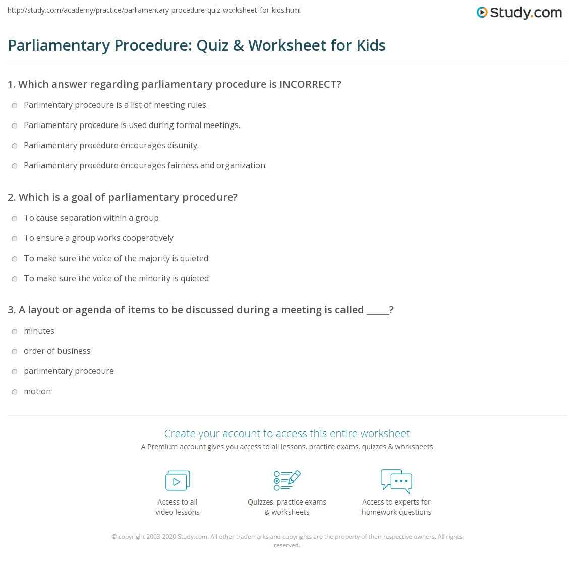 Parliamentary Procedure Quiz Amp Worksheet For Kids