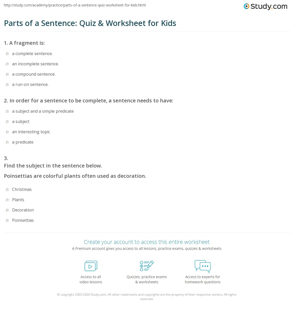 Parts Of A Sentence Quiz Amp Worksheet For Kids