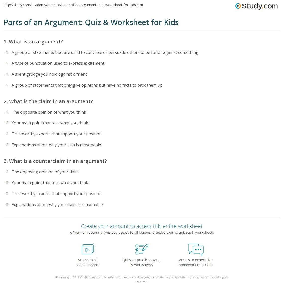 Parts Of An Argument Quiz Amp Worksheet For Kids