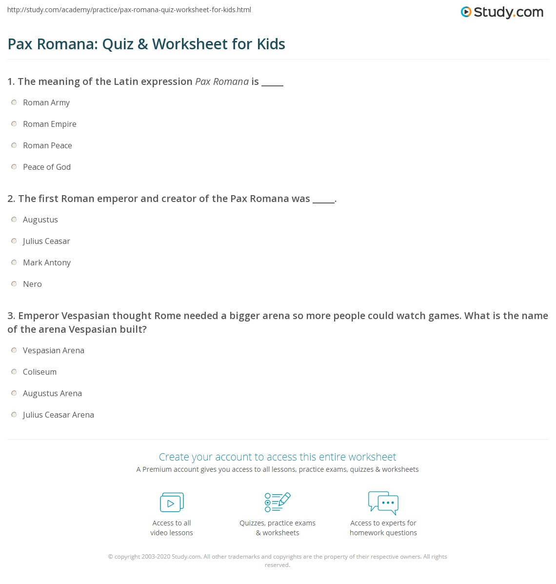 Pax Romana Quiz Amp Worksheet For Kids