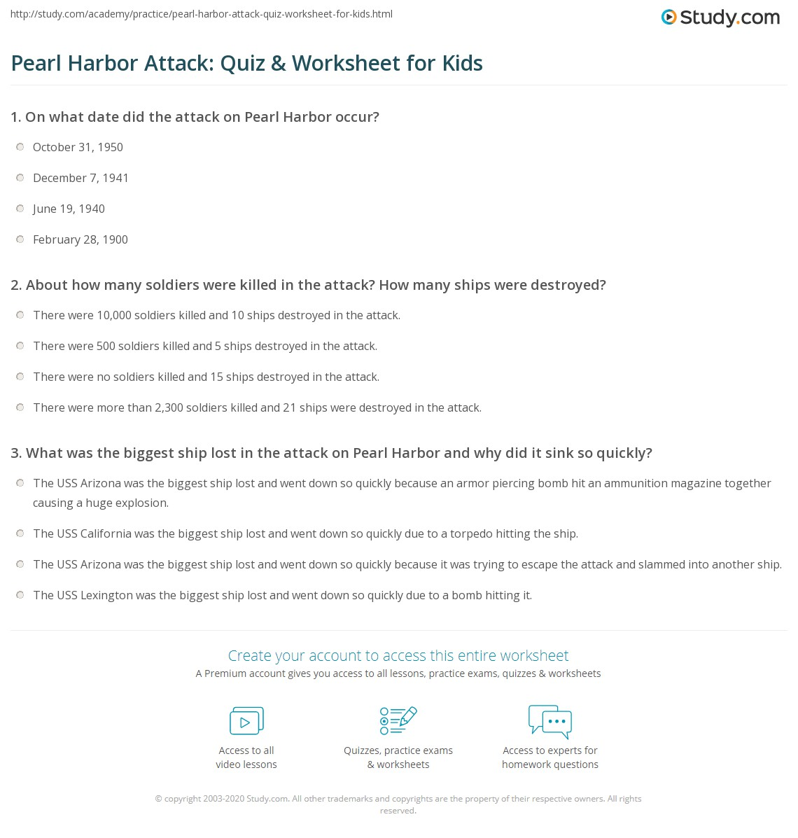 Pearl Harbor Quiz Amp Worksheet For Kids