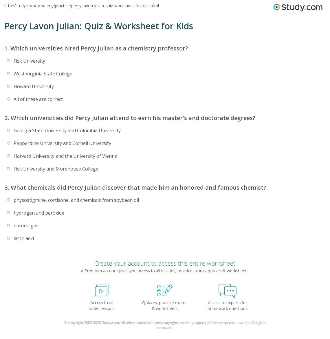 Percy Lavon Julian Quiz Amp Worksheet For Kids